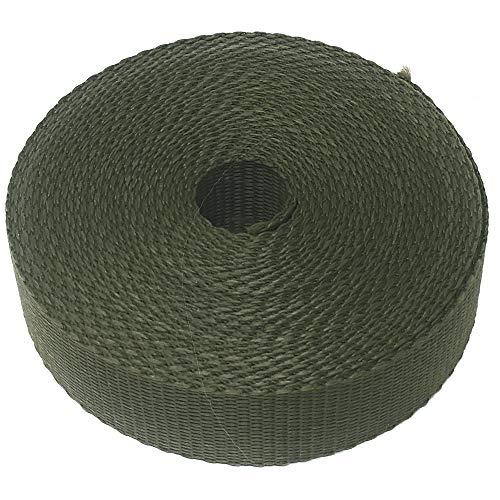 Craft it Correa de Polipropileno, 25 mm, Color Verde Caqui – 5 m – Cinta de Tela, para Bolsos, Mochilas, Equipaje, DIY, Costura.