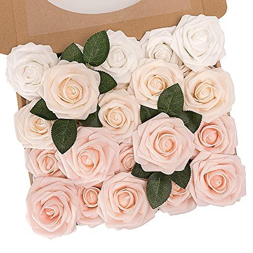 N&T NIETING Künstliche Blumen Rosen, 25 Stück Deko Blumen Fake Rosen mit Stielen DIY Hochzeit Blumensträuße Braut Zuhause Dekoration, Gemischte Farbe C