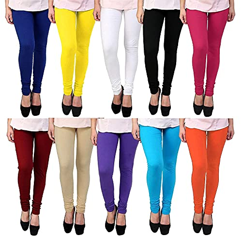 ZAKOD Women's Cotton Stretchable Churidar Leggings for Women/Girl Multi Color Fit to Waist Size Up to 34 inches Combo Pack (Multicolour, Free Size)