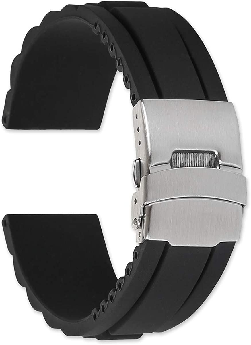 22mm Oyster Style Year-end gift Divers Clasp Rubber Replacement Milwaukee Mall - Band B Watch