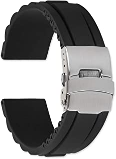 22mm Oyster Style Divers Clasp Rubber Replacement Watch Band - Black