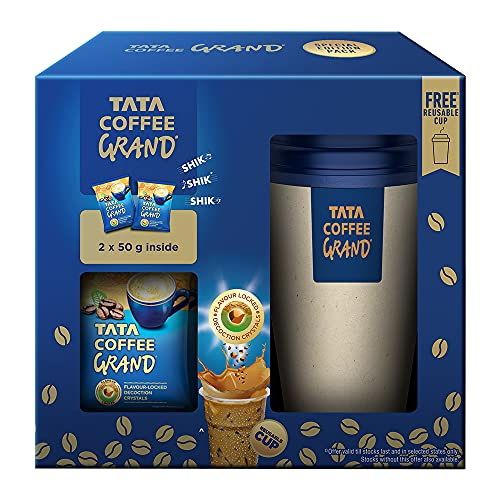 Tata Coffee Grand Instant Coffee, 100 g (50g x 2) + Reusable Cup