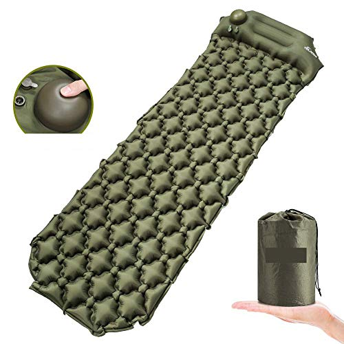 Self-Inflatable Camping Sleeping Pad with Built-in Pump for Travelling, Backpacking, Hiking Air Mattress with Pillow – Ultralight & Compact Best Sleeping Pad (Navy Green)