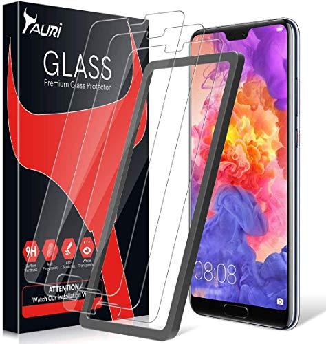 TAURI Pellicola Protettiva per Huawei P20 PRO [3 Pezzi][Installazione Semplice del Telaio di allineamento] [2.5D] [9H Durezza] [Senza Bolle] Protezione Schermo Vetro, L'imballaggio esterno varia