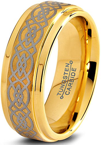 Charming Jewelers Tungsten Wedding Band Ring 8mm for Men Women Comfort Fit Celtic Knot 18K Yellow Gold Plated Step Beveled Edge Brushed Polished Size 10