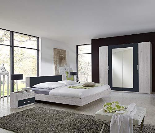Wimex Schlafzimmer Set Anna, bestehend aus Schrank, Bett und Nachtschränken, Liegefläche 180 x 200 cm, Weißeiche