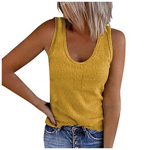 Masrin Solide Tanktops für Damen Ärmelloses Hemd mit U-Ausschnitt Sommer Lässige Rippenstrick-Trainings-T-Shirt-Bluse(L,Gelb)