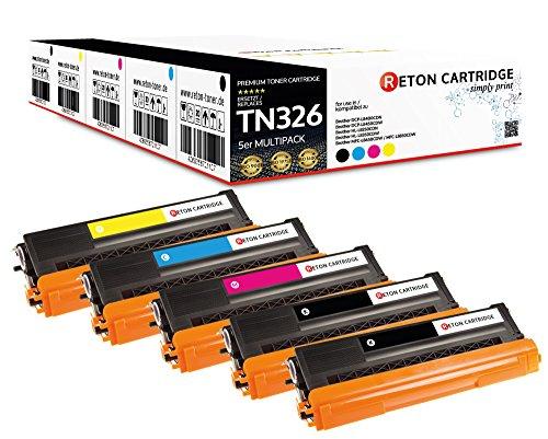 Original Reton Toner, kompatibel, 5er Farbset für Brother TN-326 (TN326BK, TN326C, TN326M, TN326Y), HL-L8250, L8350, L8350CDWT, L8250CDN, L8350CDW, MFC-L8600, L8850, L8600CDW, L8850CDW