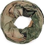 styleBREAKER Bufanda de lazo para damas con estampado de ciervo y división geométrica, bufanda de tubo multicolor, bufanda 01017131, color:Verde oscuro-Beige