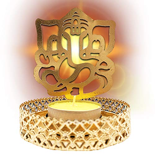 Pack x 2 - Portavelas figura Ganesha color dorado (incluye 2 velas). Porta velas decorativas para el hogar/oficina. Decoracion hindu candelabros elaborados 100% a mano.