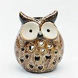bestforme Owl Ornament, 2pcs Eule Garten Dekorationen, Hohl Keramik Eule Ornamente, Keramik Kerzenhalter, Home Garten Hof Dekorationen