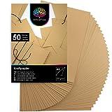 OfficeTree 50 x Papel Kraft A4 100g/m² - Carton Kraft - Cartulina Craft A4 - Manualidades Niños Cartulinas para Scrapbooking