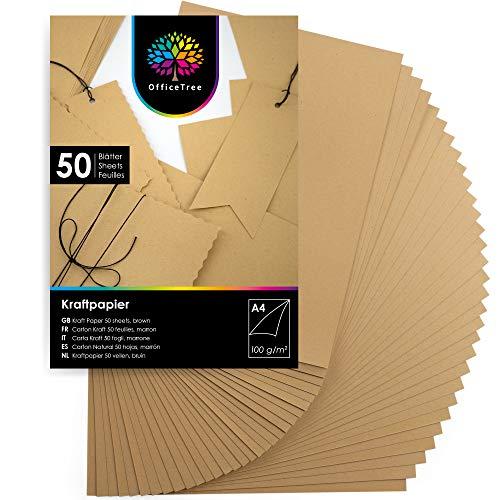 OfficeTree A4 Kraftpapier 100g - 50 Blätter - Braunes Papier zum Basteln, Bedrucken und Malen - Kartonpapier A4 - Craft Papier