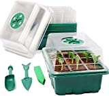 Kit de bandeja de inicio de semillas de 5 envases con bandeja de plántulas de cúpula de humedad y bandeja de crecimiento de invernadero de base reutilizable -60 celdas-Green_5 Set