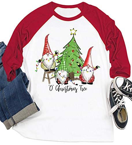 Christmas Gnomes T Shirt O' Christmas Tree Funny Graphic Tees Shirt Xmas Holiday Long Sleeve Casual Raglan Tops (L, White-Red)