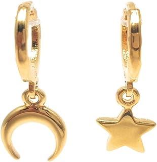 Arracadas Estrella y Luna - Chapa Oro 22k - Elegantia Jewelry