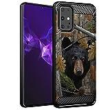 CasesonDeck Bear Case Compatible with [Samsung Galaxy S20+ Plus (2020)(6.7' Screen)] Hunters Series Slim No Bulk Carbon Fiber Texture Black Flexible TPU Material (Bear Tree Camo)