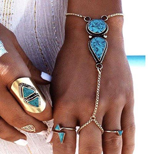 Jovono Armbänder mit Ring im Vintage-Stil für Damen, ideal für den Strand oder für sommerliche Outfits, Türkis