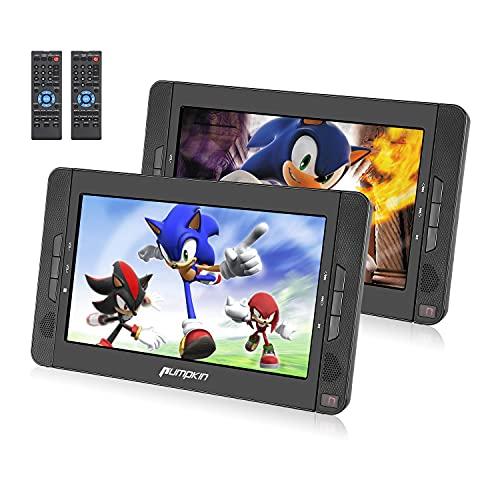 PUMPKIN doppio Lettore DVD portatile, uso per casa e auto, poggiatesta con doppio schermo da 10.1 pollici con supporto, circa 5 ore di durata, supporto USB SD MMC region free, 18 mesi di garanzia