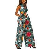 Senlen Combinaison décontractée à col en V pour femme - Imprimé bohème africain - Coupe ample - Orange - 68