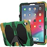 Jennyfly iPad Kids Case Air 3 10.5, Heavy Duty Shockproof Hard Rugged Durable 3-Layer Protective Kids Case with Detachable Kickstand Support Viewing/Typing Angle for 2017/2019 iPad 10.5- Camouflage