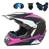 XIAOL - Casco de motocross, casco completo para bicicleta de montaña para hombre y mujer, protección de seguridad, guantes, gafas de protección, juego de 4 piezas, rosa (54 – 55 cm)