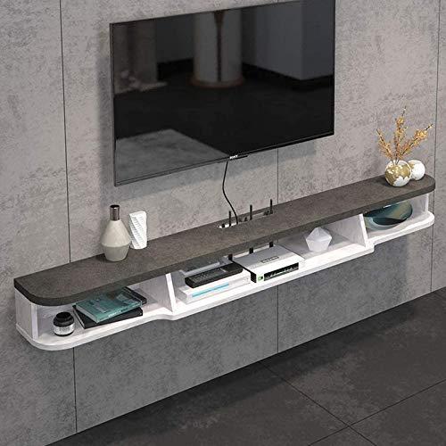 Decor Estante flotante de 2 niveles, moderno, montado en la pared, para TV, soporte para TV, soporte para TV, consola multimedia, armario de pared, estante para TV de componentes, armario colgante par