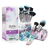 DUAIU brochas de maquillaje profesionales 15 piezas Premium Cerdas sintéticas Juego de mangos de cristal Kabuki Foundation Brush Face Lip Eye Makeup Brush Sets Profesional con caja de regalo