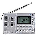 GBBG Full Band-Radio Bluetooth FM AM SW beweglichen Taschen-Radios MP3-Digital Rec Recorder Mikro-Sd TF Karte Sleep Timer Geschenk für ältere Menschen,Weiß