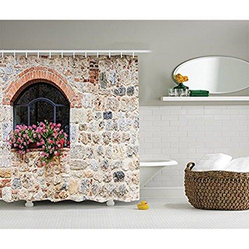 Yeuss Toskanischer Duschvorhang, gotische Architektur verlassene alte Steinhaus Vintage Treppe in der Toskana,Stoff Badezimmer Dekor Set mit Haken,Elfenbein Pink & Lachs 60'x72'