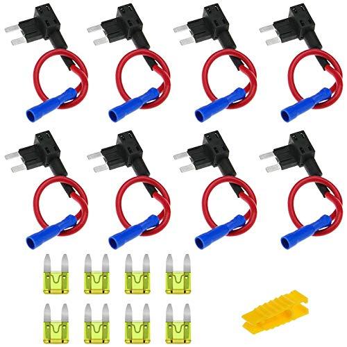 8 Stück 12V Autosicherungen Stromdieb, Bolatus Flachsicherungsadapter KFZ Stecksicherung Verteiler Add-A-Schaltung Flachsicherungen Klein Sicherungshalter mit 20A Sicherung (Mini)