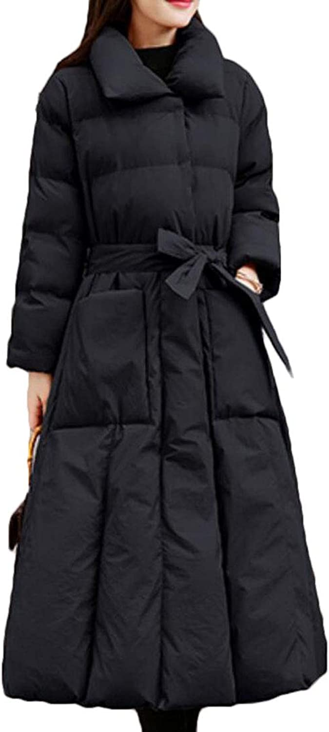 Domple Womens Quilted Pockets Packable Bow Tie Warm Long Down Jacket