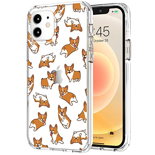 Tenpon iPhone 12 Case/iPhone 12 Pro Case 6.1 Inch 2020, Clear Cute Corgi Pattern Design for Girls Women, Slim-fit Shockproof Soft TPU Bumpers Protective Phone Case