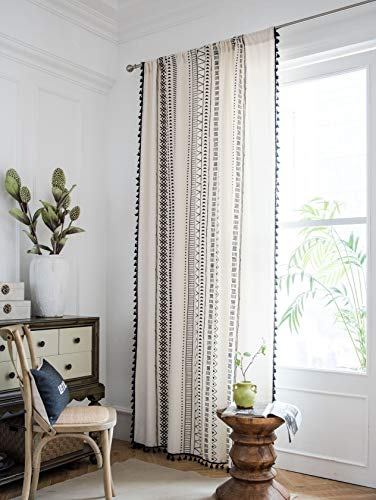 """Muccyy Boho Chic Cotton Linen Window Curtains with Tassel Geometric Print Semi Blackout Curtains for Bedroom Living Room, 1 Piece,59"""" Wide 86"""" Long"""