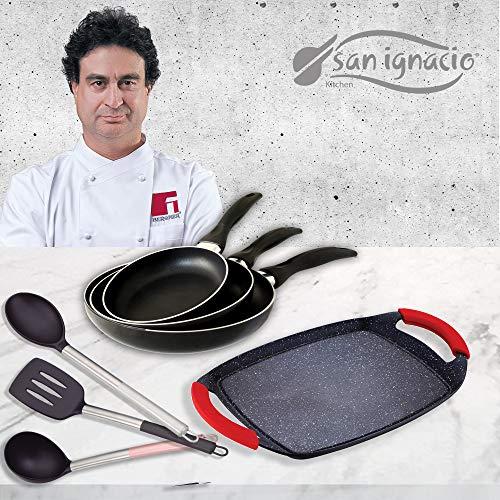 San Ignacio Cune Sip Set 3 Sartenes + Plancha Grill + 3 Utensilios, Aluminio Prensado, Negro/Plateado