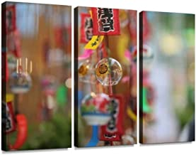 Wind chims at Market Street of Asakura Print On Canvas Wall Artwork Modern Photography Home Decor Unique Pattern Stretched and Framed 3 Piece