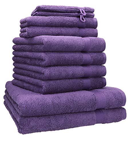 Betz 10-TLG. Handtuch-Set Premium 100% Baumwolle 2 Duschtücher 4 Handtücher 2 Gästetücher 2 Waschhandschuhe Farbe lila