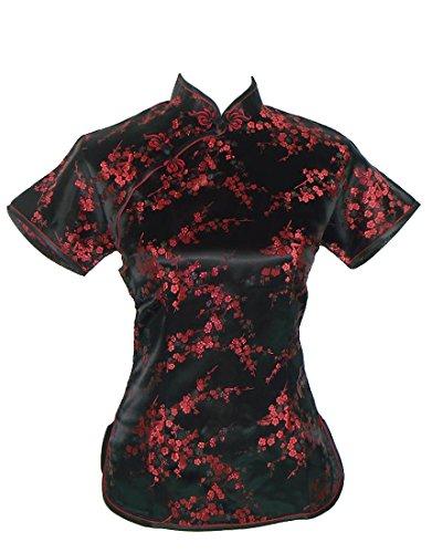 Camisa de estilo chino tradicional, de manga corta, negra y rojo oscuro, con motivos de cerezas Black & Burgundy