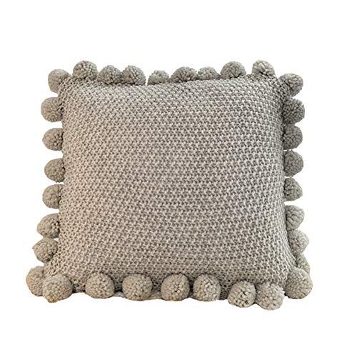 Ancoree Cubierta de Cojín de Punto de Color Sólido con Bola de Linterna Encantadora Cubierta de Almohada Suave Decorativa de Estilo Simple Grande con Cremallera Oculta, 50 x 50cm (Creamy White)