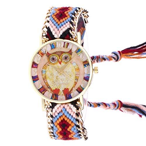 Gysad Reloj de Pulsera Estilo Hippie Reloj de Pulsera Mujer Diseño de Tejido de algodón Reloj de Cuarzo Mujer Patrón de búho Reloj de Pulsera Mujer Baratos