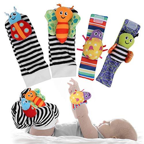 Meias de bebê, brinquedos, cores brilhantes Animal fofo e macio infantil Chocalhos e localizadores de pés Brinquedo de suspensão de meias Conjunto de brinquedos educativos iniciais para meninos e meninas de 0 a 2 anos (um conjunto de)