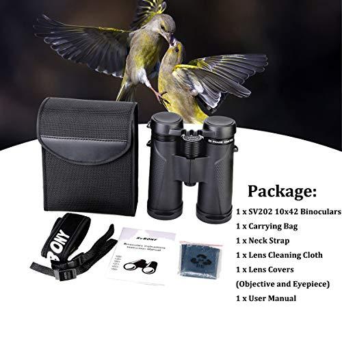 Svbony SV202 Binoculars, 10x42 Binoculars for Adults, ED Glass Bak4 Prism Waterproof Binoculars for Hunting, Hiking, Travelling, Birdwatching