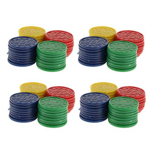 #N/A/a Juego de 128 Fichas de Póquer Numeradas en Color Sólido de Casino, 31 Mm, Azul, Rojo, Verde, Amarillo