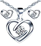 Yumilok Schmuckset Damen Halskette Ohrringe Kette Set 925 Sterling Silber Herz Zirkonia Geschenk für Mama Frau Freundin
