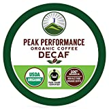 Peak Performance Organic Decaf Coffee Pods - High Altitude USDA Organic Decaf Coffee. High Mental Performance Coffee. Fair Trade Beans Medium Roast Single Serve Decaffeinated. 24 Count Cups
