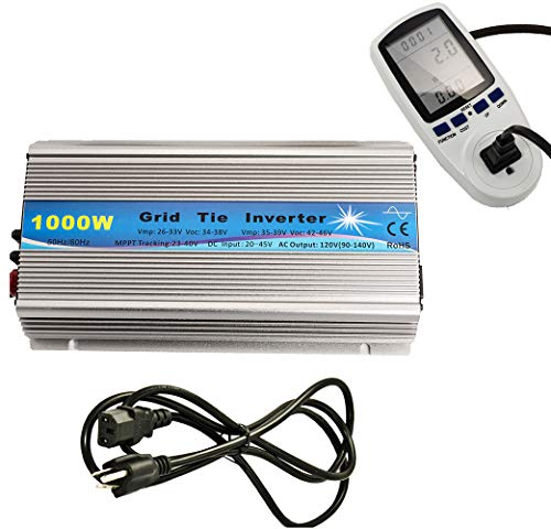 iMeshbean 1KW Solar Grid tie Inverter with Energy Watt Voltage Meter Monitor: 1000 Watts Grid Tie Inverter MPPT Pure Sine Wave for Solar Panel System 22-45V Input to 90V-140V Output Stackable USA