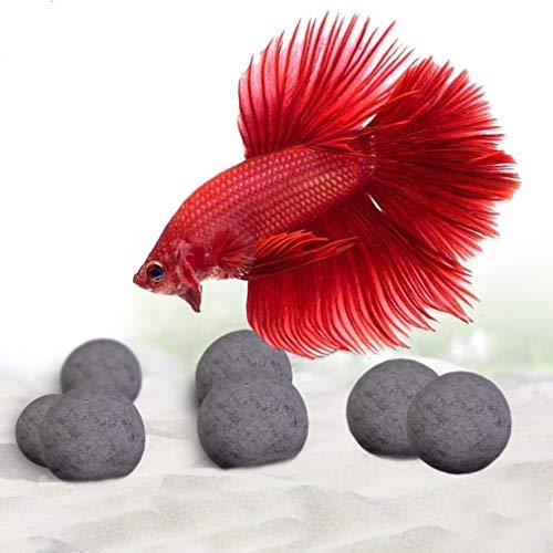 SunGrow 10 Calcium-rijke minerale kralen voor Betta, 0,4 inch, toermalijnballen voor perfecte voedingsbalans, met meer dan 30 heilzame mineralen voor actieve vissen, decor voor vistank, 10-delig