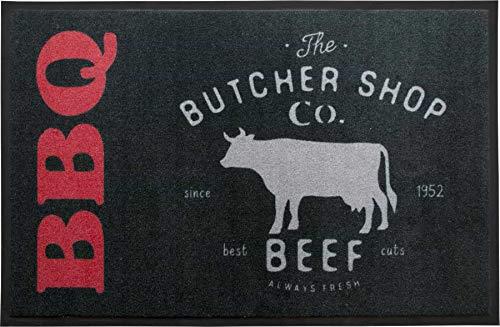 Preisvergleich Produktbild Primaflor - Ideen in Textil BBQ Grill-Schutz-Matte Grillunterlage - 80 x 120 cm,  Butcher,  rutschfeste Bodenschutzmatte,  Grill-Bodenmatte