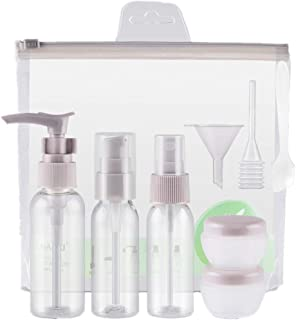 Travel Bottles Set,Travel Size Bottle 9 Pieces Clear Plastic Liquid Container with Storage Bag for Shampoo Cosmetics Lotio...