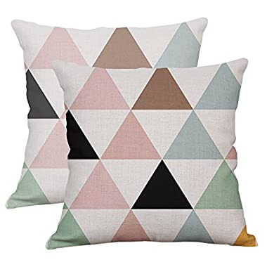 Set Of 2 Geometric Decorative Throw Pillow Covers Square Cotton Linen Cushion Covers Outdoor Sofa Home Pillow Covers 16x16 Inch